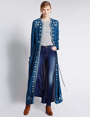 Embroidered Longline Belted Kimono, NAVY MIX, catlanding