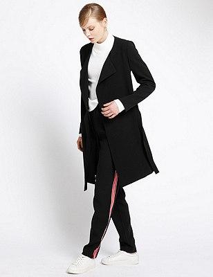 Wrap Front Belted Coat, BLACK, catlanding