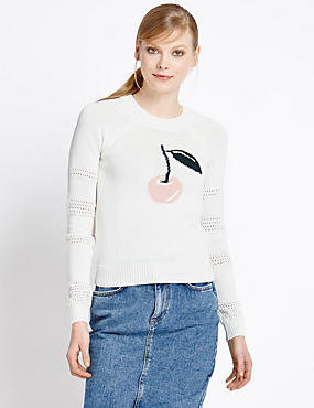 Pure Cotton Cherry Knit Jumper