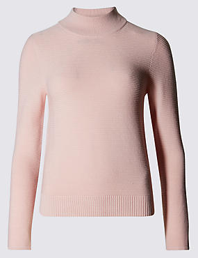 Stand Collar Ribbed Jumper with Wool