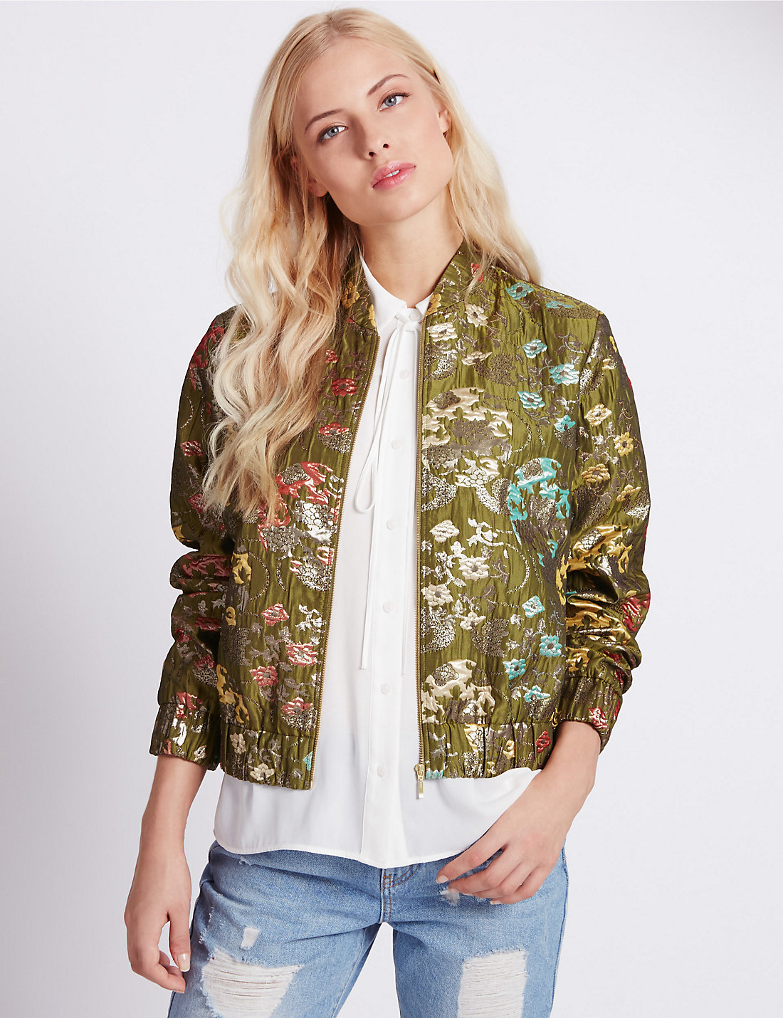 Jacquard Zipped Bomber Jacket