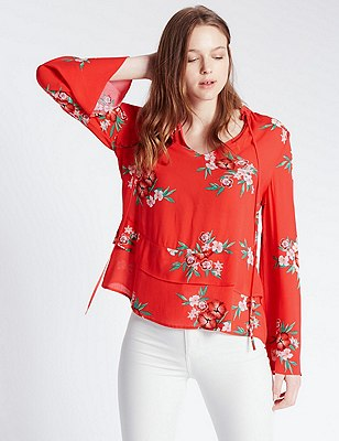 Tailored Fit Ruffle Hem Floral Blouse, RED MIX, catlanding