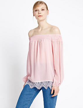 Bardot Lace Trim Blouse