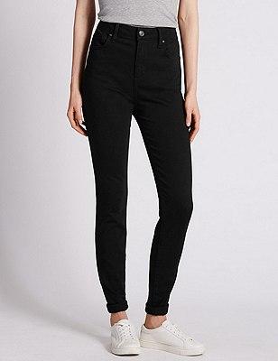 High Waisted Skinny Jeans, BLACK, catlanding
