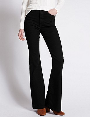Flared Leg Denim Jeans, BLACK, catlanding