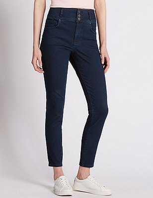 High Waisted Skinny Denim Jeans, INDIGO MIX, catlanding