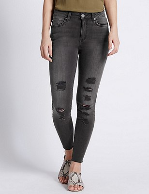 Multi Rip Skinny Leg Denim Jeans, GREY MIX, catlanding