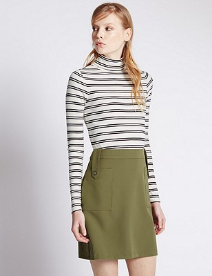 Cotton Rich Roll Neck Striped Top, IVORY MIX, catlanding