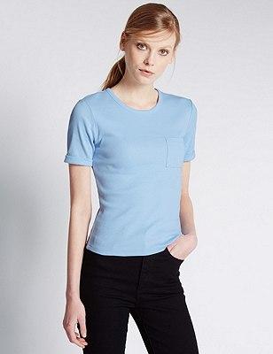 Cotton Rich Front Pocket Ribbed Top, LIGHT BLUE, catlanding