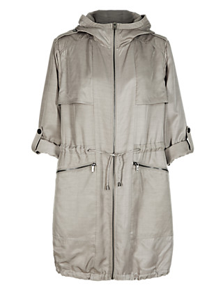 Twiggy for M&S Collection Satin Effect Hooded Parka Clothing