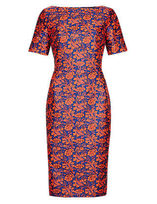 Best of British Floral Jacquard A-Line Dress Clothing