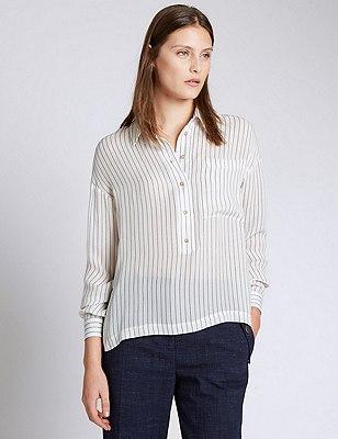 Pure Silk Striped Shirt, IVORY MIX, catlanding