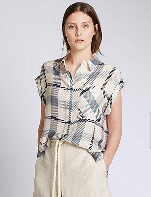 Camisa de cuadros 100% seda, MEZCLA DE TONOS MARFIL, catlanding