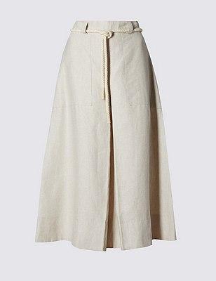 Falda 100% lino de corte en A con cinturón, MEZCLA DE TONOS MARFIL, catlanding