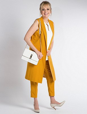 Sleeveless Longline Jacket, GOLD, catlanding