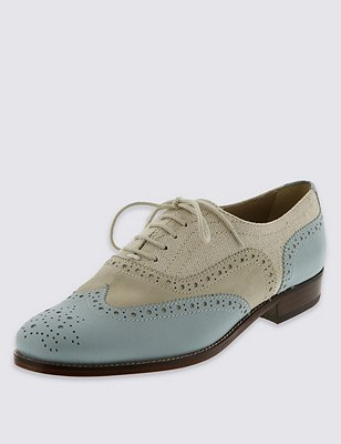 Lace Up Brogue Shoes with Insolia Flex®, NATURAL MIX, catlanding