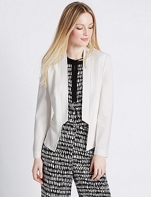PETITE Step Front Jacket, IVORY, catlanding