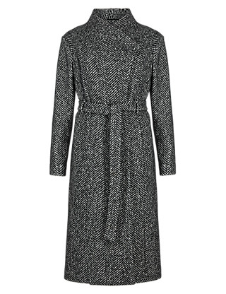 PETITE Wool Blend Herringbone Long Belted Overcoat Clothing