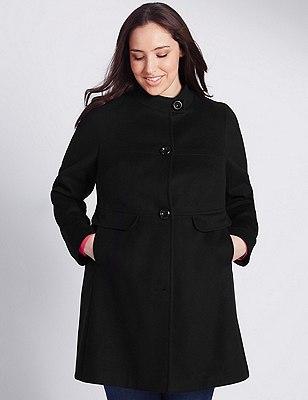 PLUS Button Through Coat, BLACK, catlanding