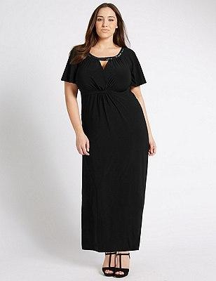PLUS Embellished Neck Maxi Dress, BLACK, catlanding