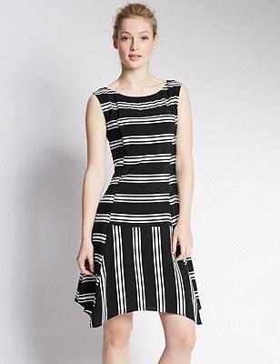 PETITE Striped Peplum Dress, BLACK MIX, catlanding