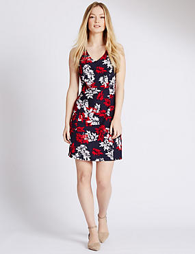PETITE Linen Blend Leaf Print Shift Dress