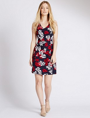 PETITE Linen Blend Leaf Print Shift Dress , RED MIX, catlanding
