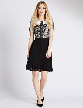 PETITE Lace Pleated Skater Dress