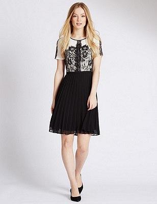 PETITE Lace Pleated Skater Dress, BLACK MIX, catlanding