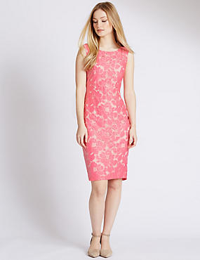 PETITE Floral Lace Shift Dress