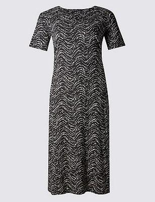 PLUS Geometric Wave Print Maxi Dress, BLACK MIX, catlanding