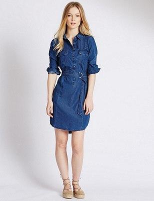 PETITE Denim Shirt Dress, DENIM, catlanding