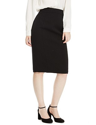 PETITE Back Zip Straight Skirt, BLACK, catlanding