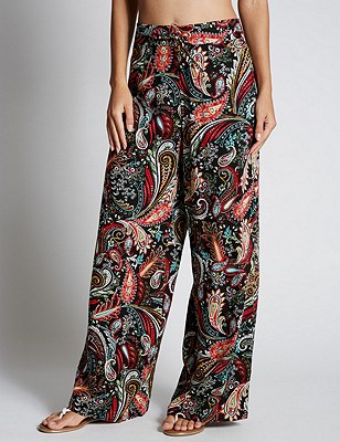 PLUS Paisley Print Wide Leg Beach Trousers, BLACK MIX, catlanding