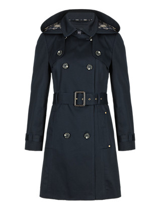 PETITE Pure Cotton Hooded Belted Trench Coat with Stormwear™ Clothing