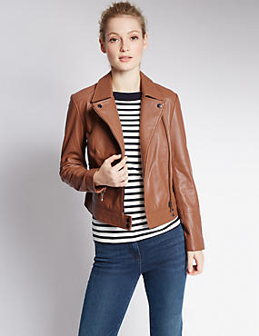 PETITE Leather Biker Jacket