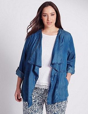PLUS Front Zipped Pockets Style Jacket, DENIM, catlanding