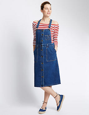 PETITE Button Through Denim Dungaree Dress