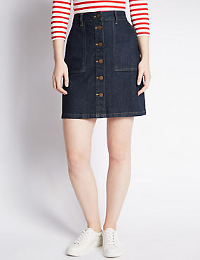 PETITE Denim Button Through A-Line Skirt