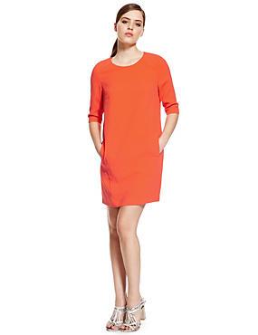 PETITE Panelled Shift Dress, ORANGE, catlanding