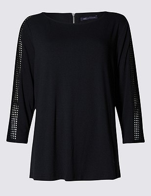 PLUS 3/4 Sleeve Cutwork Top, BLACK, catlanding