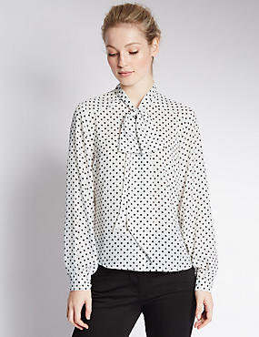 PETITE Bow Spotted Blouse