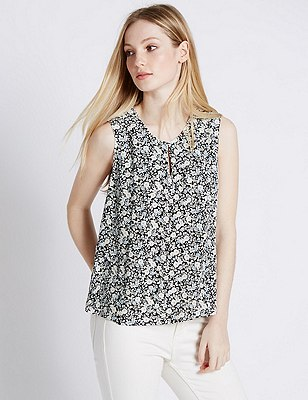 PETITE Ditsy Floral Shell Top, NAVY MIX, catlanding