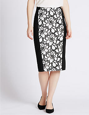 PETITE Floral Lace Pencil Skirt