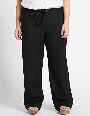 PLUS Pure Linen Wide Leg Trousers, BLACK, catlanding