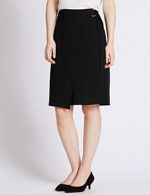PETITE Wrap Skirt, BLACK, catlanding