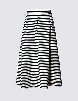 PETITE Striped Skater Skirt, BLACK/WHITE, catlanding