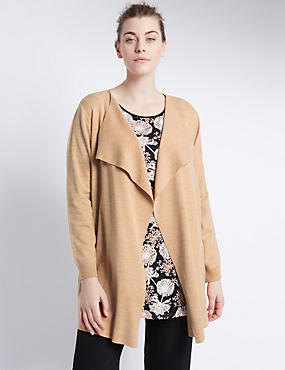 PLUS Open Front Anti Bobble Waterfall Soft Cardigan