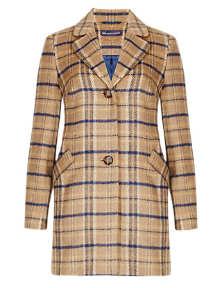 PETITE Single Breasted Checked Coat with Wool Clothing