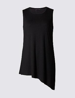 PLUS Sleeveless Asymmetric Hem Tunic, BLACK, catlanding